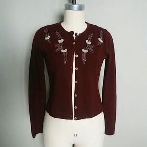 Free People Sweaters - Free people burgundy beaded 50s cardigan sweater